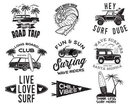 Vintage Surfing Graphics  Set for web design or print. Surfer badges templates. Surf emblems. Summer surfboard, palms elements. Outdoors activity - boarding on waves. Vector hipster insignia.