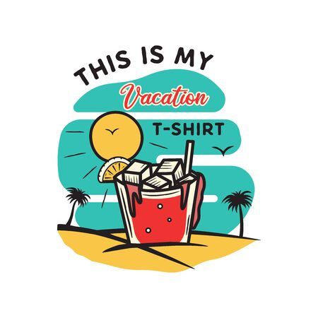 Vintage hand drawn vacation and travel design for print. t shirt, posters. Beach with palm trees, drinking and sun. 일러스트