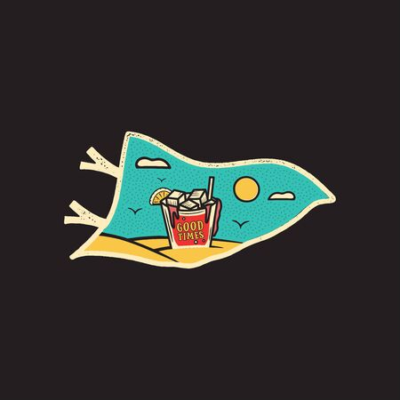 Vintage hand drawn pennant vacation and travel concept for print. t-shirt, posters. 일러스트