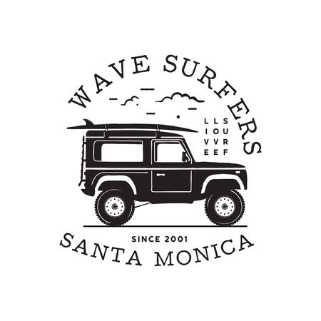 Vintage surf   print design for t-shirt and other uses. Wave Surfers typography quote calligraphy and van icon. Unusual hand drawn surfing graphic patch emblem. Stock vector  イラスト・ベクター素材