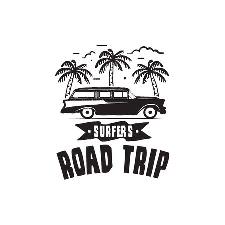 Vintage surf print design for t-shirt and other uses. Surfers Road Trip typography quote calligraphy and van car icon. Unusual hand drawn surfing graphic patch emblem. Stock vector
