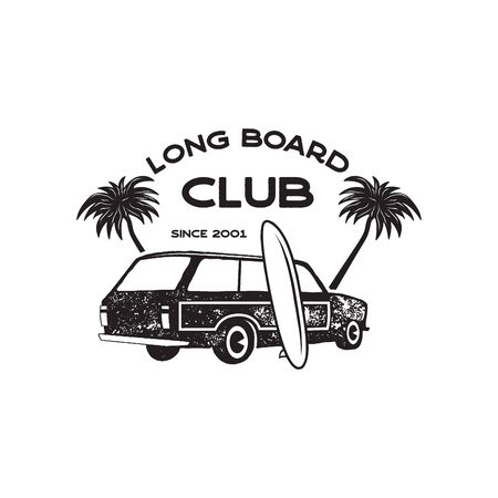Vintage surf print design for t-shirt and other uses. Long Board Club typography quote calligraphy and van car icon. Unusual hand drawn surfing graphic patch emblem. Stock vector