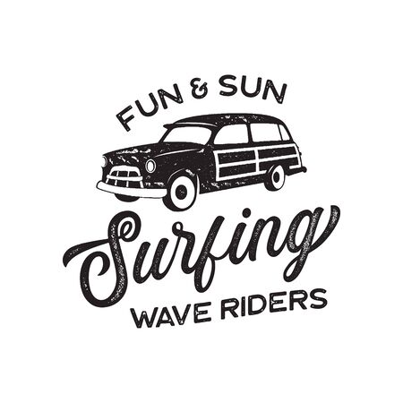 Vintage surf print design for t-shirt and other uses. Fun and Sun typography quote calligraphy and van icon. Unusual hand drawn surfing graphic patch emblem. Stock vector