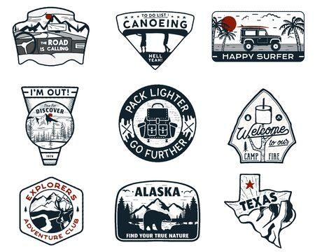 Vintage hand drawn travel badges set. Camping labels concepts. Mountain expedition  designs. Retro camp logotypes collection. Stock vector outdoor patches isolated. Silhouette