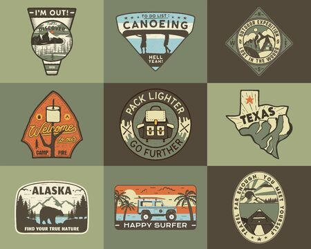 Vintage hand drawn travel badges set. Camping labels concepts. Mountain expedition  designs. Retro camp logotypes collection. Stock vector outdoor patches isolated. Иллюстрация