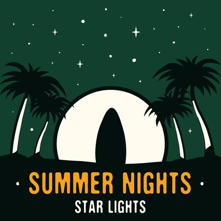 Vintage hand drawn surfing and travel concept for print. t-shirt. Beach with palm trees and moon. Retro summer background, unusual poster. Summer Nights star lights T-Shirt texts. Stock vector.