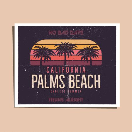 California Palms Beach Graphic for T-Shirt, prints. Vintage hand drawn 90s style poster, flyer. Retro summer travel scene, unusual badge. Surfing Adventure Label. Stock vector. 일러스트