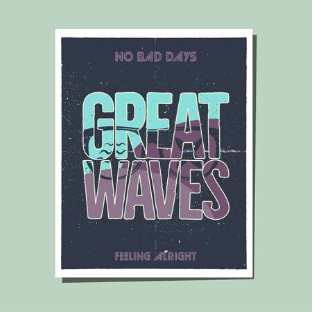 California Great Waves Graphic for T-Shirt, prints. Vintage hand drawn 90s style emblem. Retro summer travel scene, unusual badge. Surfing Adventure Label. Stock vector.