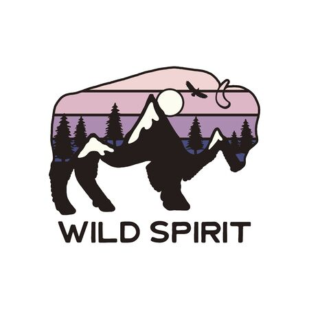 Mountain Adventure Graphic for T-Shirt, prints. Vintage hand drawn buffalo camp emblem. Retro summer winter travel scene, unusual badge. Wild Spirit Typography Label.