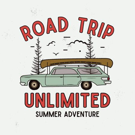 Road Trip Summer Adventure Graphic for T-Shirt, prints. Vintage hand drawn camp emblem. Retro travel scene with trees, unusual badge.