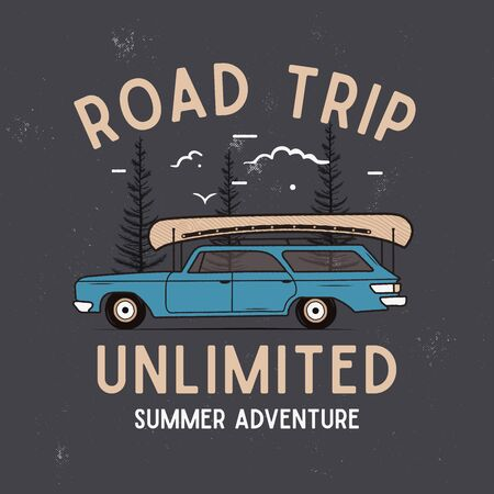 Road Trip Summer Adventure Graphic for T-Shirt, prints. Vintage hand drawn camp emblem. Retro travel scene background with trees, unusual badge.