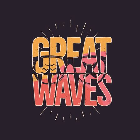 California Great Waves Graphic for T-Shirt, prints. Vintage hand drawn 90s style emblem. Retro summer travel scene, unusual badge. Surfing Adventure Label.