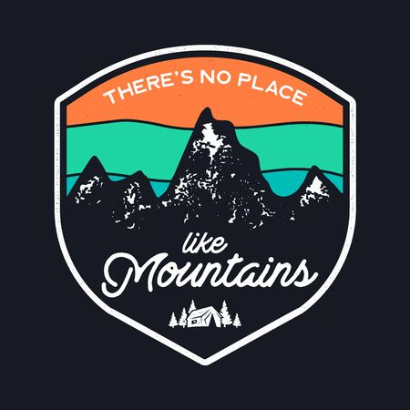 Mountain Explorer Graphic for T-Shirt, prints. Vintage hand drawn camp emblem. Retro summer winter travel scene, unusual badge. Outdoors Adventure Label.