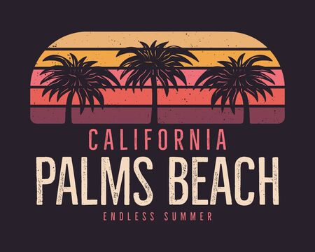 California Palms Beach Graphic for T-Shirt, prints. Vintage hand drawn 90s style emblem. Retro summer travel scene, unusual badge. Surfing Adventure Label.