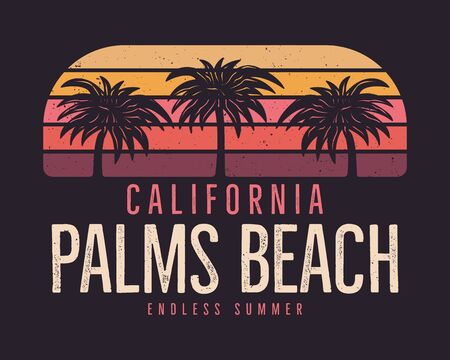 California Palms Beach Graphic for T-Shirt, prints. Vintage hand drawn 90s style emblem. Retro summer travel scene, unusual badge.