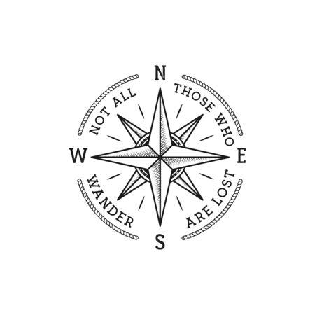 Vintage Fernweh-Print-Design im nautischen Stil für T-Shirt-Design oder Abzeichen. Nicht alle, die wandern, sind verlorene Typografie mit Windrose-Emblem, T-Shirt im Seestil.