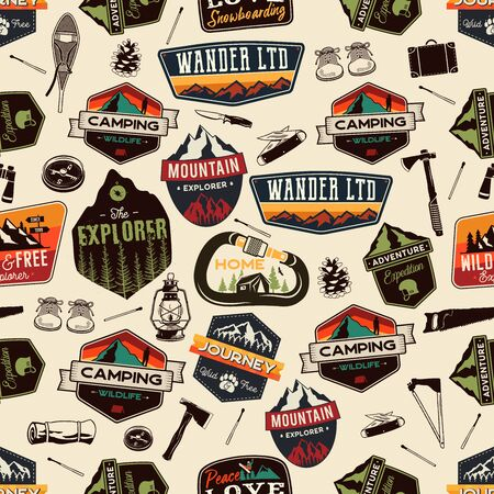 Camping adventure seamless pattern with outdoor explorer patches and hiking symbols icons. 일러스트