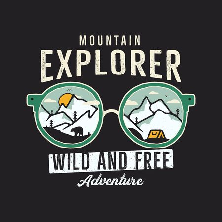 Mountain Explorer Graphic for T-Shirt, prints. Vintage hand drawn camp emblem. Retro summer winter travel scene, unusual badge. 일러스트