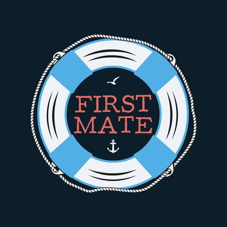 Nautical style vintage print design for t-shirt  badge. First mate typography with seagull and anchor. Marine emblem, sea and ocean style tee. Stock vector illustration
