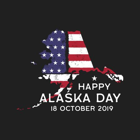 Happy Alaska Day graphic for T-Shirt or other prints. Retro US Flag state   emblem or poster. Vintage hand drawn style. 일러스트