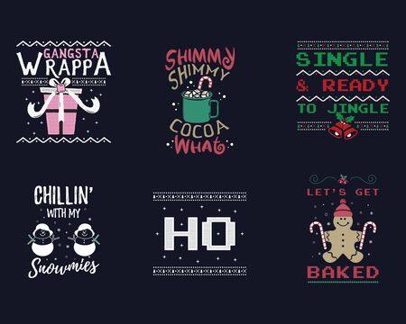 Funny Christmas graphic prints set, t shirt designs for ugly sweater xmas party. Holiday decor with jingle bells, snowman, gingerbread texts and ornaments. Fun typography. Stock vector background Illustration