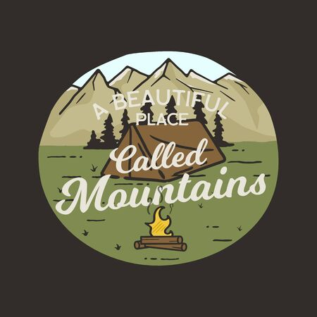 Camping graphic for T-Shirt, prints. Vintage hand drawn patch emblem. Retro summer travel landscape, unusual badge - A beautiful place called Mountains phrase. Outdoors Adventure Label. Stock vector.
