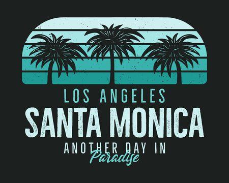 Santa Monica Beach Graphic for T-Shirt, prints. Vintage Los Angeles hand drawn 90s style emblem. Retro summer travel paradise scene, unusual badge. Surfing Adventure Label. Stock vector. 일러스트