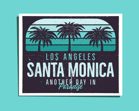 Santa Monica Beach Poster Graphic for T-Shirt, prints. Vintage Los Angeles hand drawn 90s style emblem. Retro summer travel paradise scene, unusual badge. Surfing Adventure Label. Stock vector.