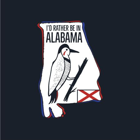 Vintage Alabama badge. Retro style US state patch, print for t-shirt and other uses. Included quote saying - Id Rather be in Alabama. Stock vector label isolated 일러스트