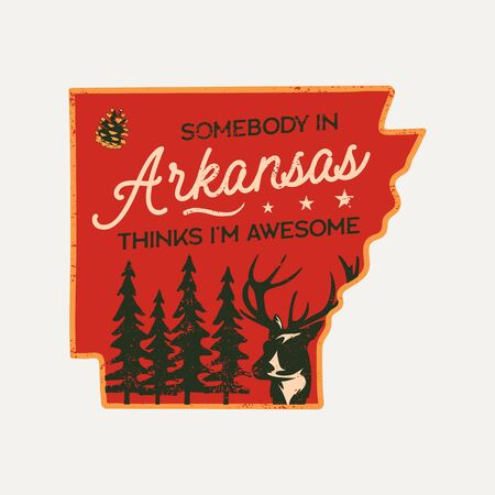 Vintage Arkansas badge. Retro style US state patch, print for t-shirt and other uses. Included quote saying - Somebody in Arkansas things I am Awesome. Stock vector label isolated