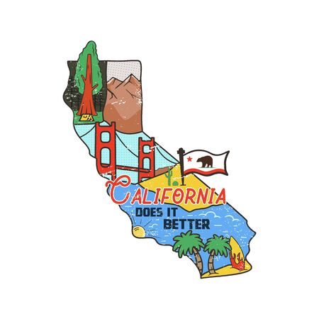 Vintage California map badge with tourist attractions. Retro style US state patch concept, print for t-shirt and other uses. Included quote saying - Cali does it better. Stock vector isolated 일러스트