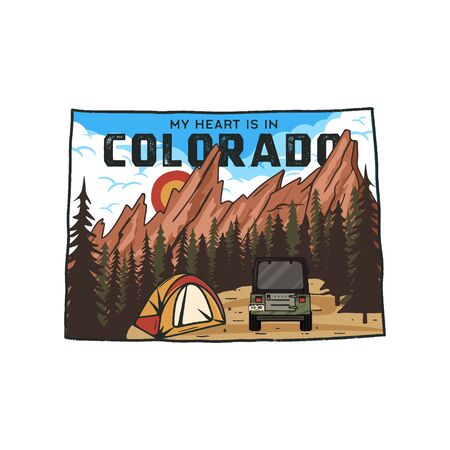 Vintage Colorado camp badge with tourist attractions. Retro style US state patch concept, print for t-shirt and other uses. Included quote saying - My heart is in Colorado . Stock vector isolated Illustration
