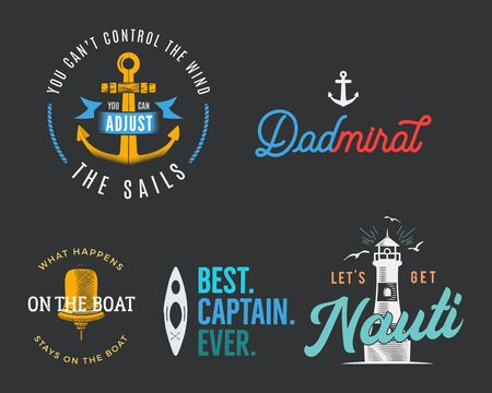Nautical vintage prints designs set for t-shirt. Marine   badges. Retro typography with lighthouse and seagull. Navy emblems, sea and ocean style tees collection. Stock vector