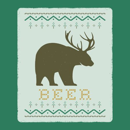 Funny Christmas graphic print, t shirt design for ugly sweater xmas party. Holiday decor with text - Beer, ornaments and bear with antlers. Fun typography tee template. Stock vector 일러스트