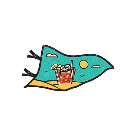 Vintage hand drawn pennant vacation and travel concept for print. t-shirt, posters. 向量圖像