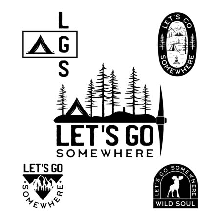 Vintage camp logos, mountain badges set. Hand drawn labels designs. Travel expedition, wanderlust and hiking. Lets Go Somwhere outdoor emblems. Logotypes collection. Stock vector isolated