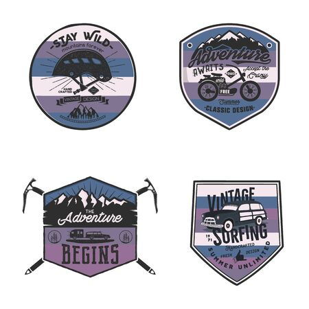 Vintage camp logos, mountain badges set. Unusual colors. Hand drawn labels designs. Travel expedition, wanderlust and hiking. Outdoor emblems. Logotypes collection. Stock vector