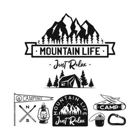 Vintage camp logos, mountain badges set. Hand drawn labels designs. Travel expedition, wanderlust and hiking. Mountain Life Just Relax outdoor emblems. Logotypes collection. Stock vector isolated