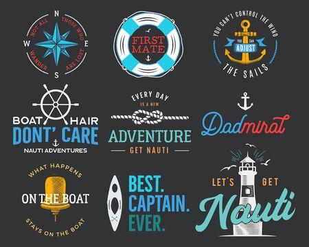Nautische Vintage-Print-Designs für T-Shirt. Marine-Logos und -Abzeichen. Retro-Typografie mit Leuchtturm und Möwe. Marine-Emblem, Meer- und Ozean-T-Shirt-Kollektion. Vektorgrafik auf Lager