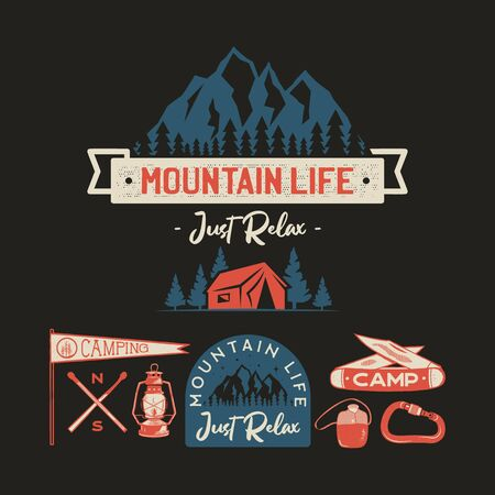 Vintage camp logos, mountain badges set. Hand drawn labels designs. Travel expedition, wanderlust and hiking. Mountain Life Just Relax outdoor emblems. Logotypes collection. Stock vector