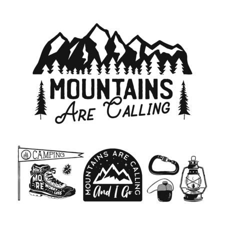 Vintage camp logos, mountain badges set. Hand drawn labels designs. Travel expedition, wanderlust and hiking. Mountains are Calling outdoor emblems. Logotypes collection. Stock vector isolated Illustration