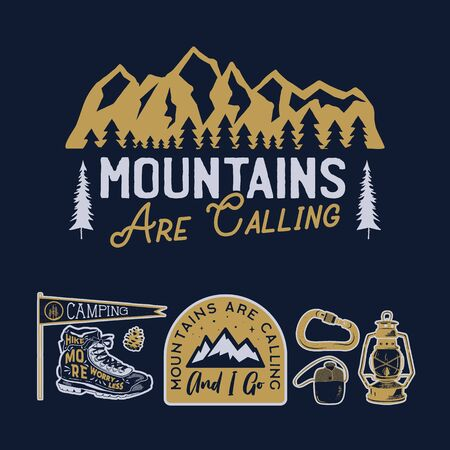 Vintage camp logos, mountain badges set. Hand drawn labels designs. Travel expedition, wanderlust and hiking. Mountains are Calling outdoor emblems. Logotypes collection. Stock vector. Illustration