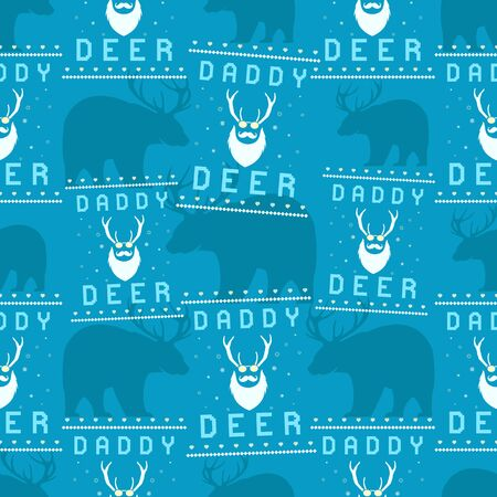 Funny Christmas seamless pattern, graphic print for ugly sweater xmas party, decoration with bear and deer head . Fun typography quote. Stock vector background illustration. Retro design