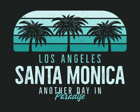Santa Monica Beach Graphic for T-Shirt, prints. Vintage Los Angeles hand drawn 90s style emblem. Retro summer travel paradise scene, unusual badge. Surfing Adventure Label. Stock .