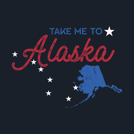 Vintage Alaska map badge. Retro style US state patch concept, print for t-shirt and other uses. Included quote saying - Take me to Alaska. Stock