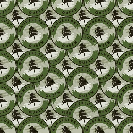 Camping patches pattern design - Outdoors Adventure seamless background with trees and quote - wanderlust queen. Unusual cartoon distressed style. Good for tee, apparel, other prints. Stock