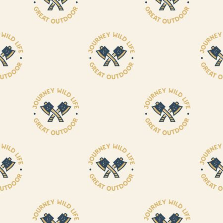 Adventure seamless pattern with camping axes labels badges. Journey wild life. Great outdoor text. Travel wallpaper background. Stock vector