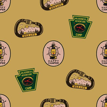 Adventure seamless pattern with camping labels badges. Happy camper text. Travel wallpaper background. Stock vector