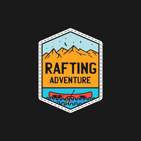 Vintage rafting adventure patch logo, wilderness badge. Hand drawn sticker design. Travel expedition, lake life label. Outdoor wanderlust emblem with canoe. Stock vector Ilustrace