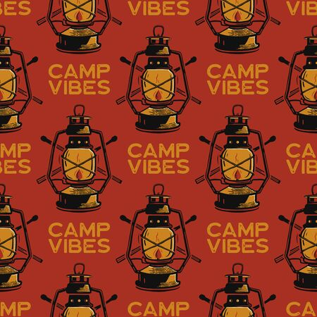 Adventure seamless pattern with camping lantern labels badges. Camp vibes text. Travel wallpaper background. Stock vector Фото со стока